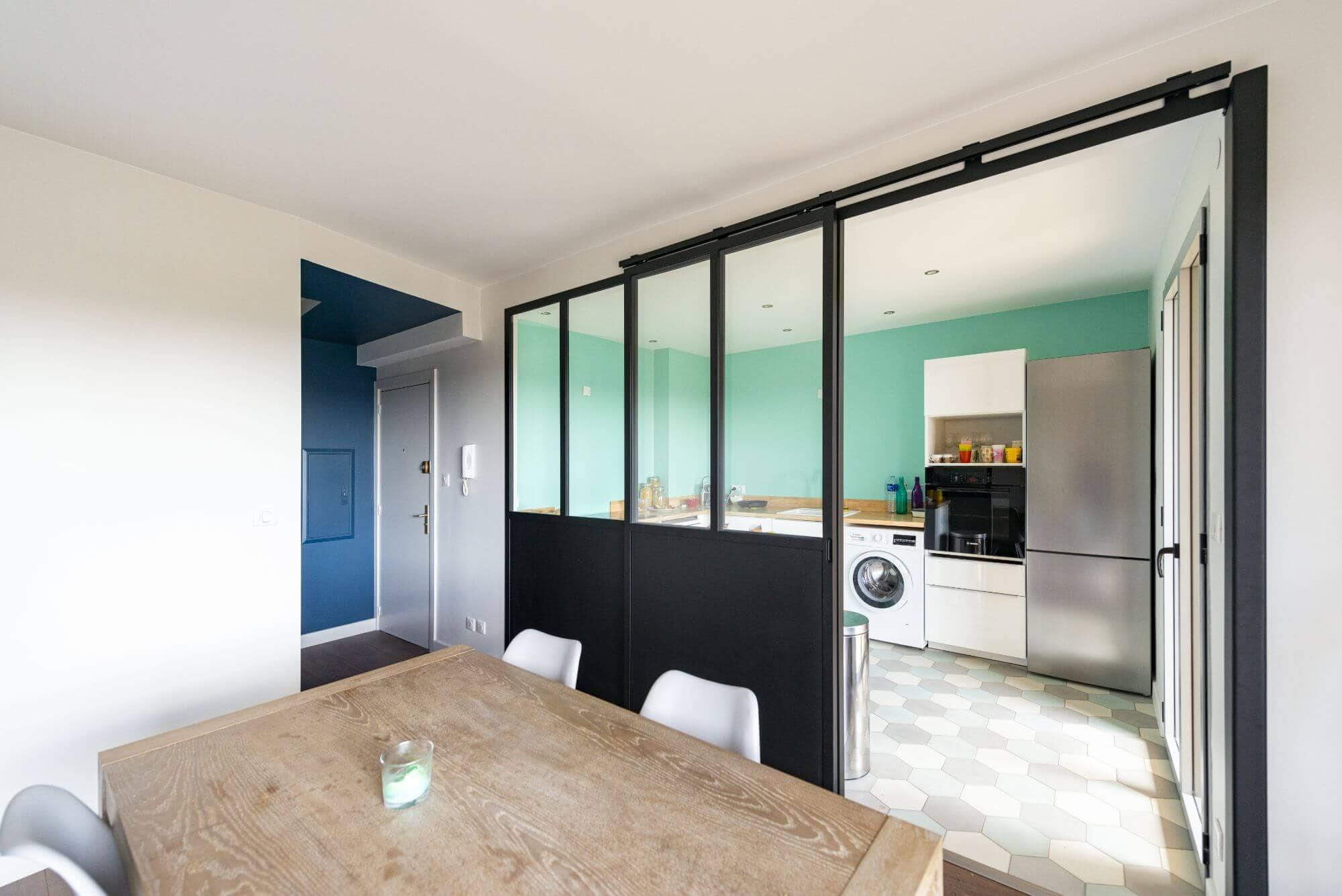 Salon, Cuisine, Verrière, Appartement remis à neuf