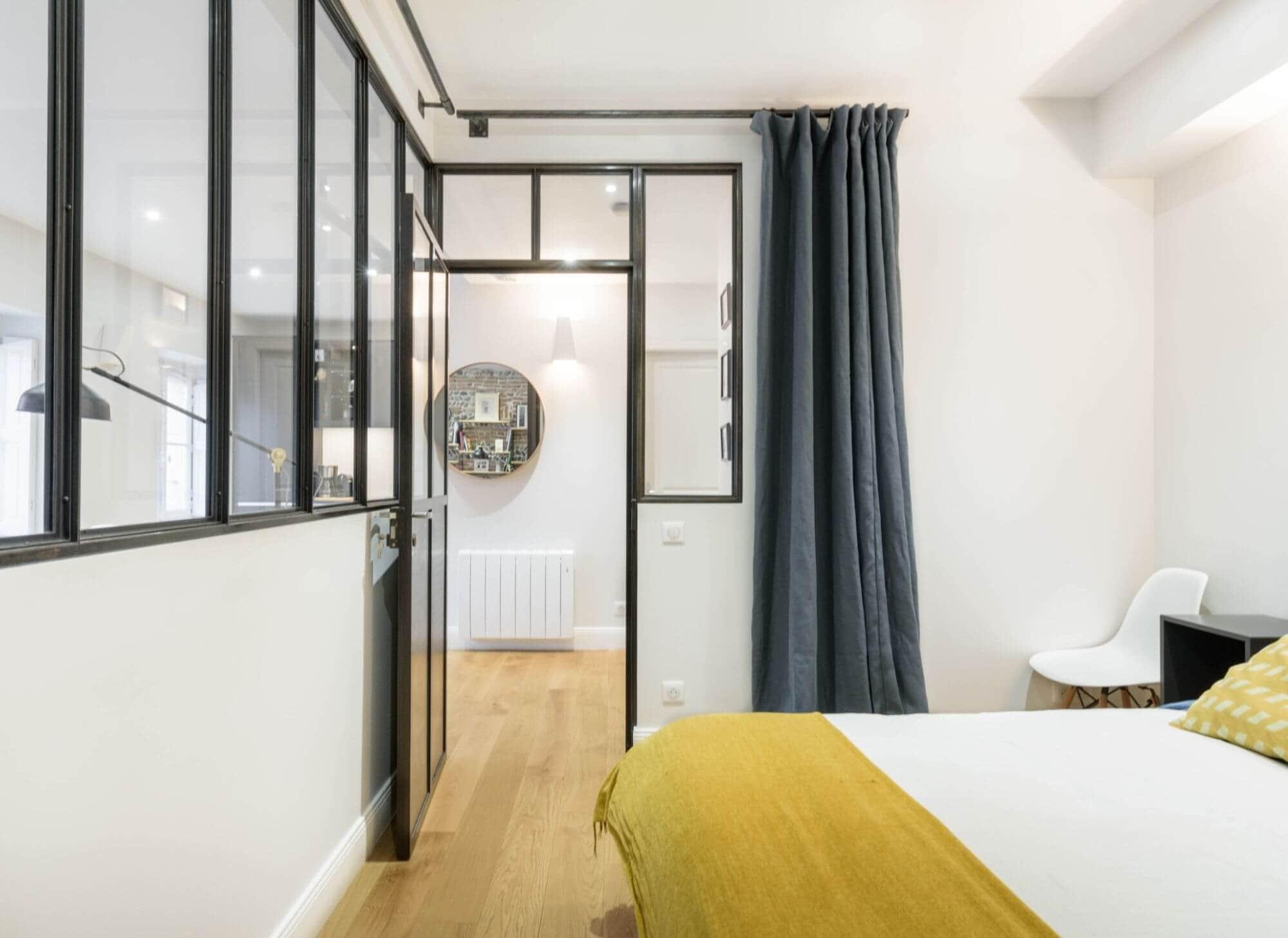 Chambre rénovée, Verrière, Appartement refait à neuf, Rénovation Locative