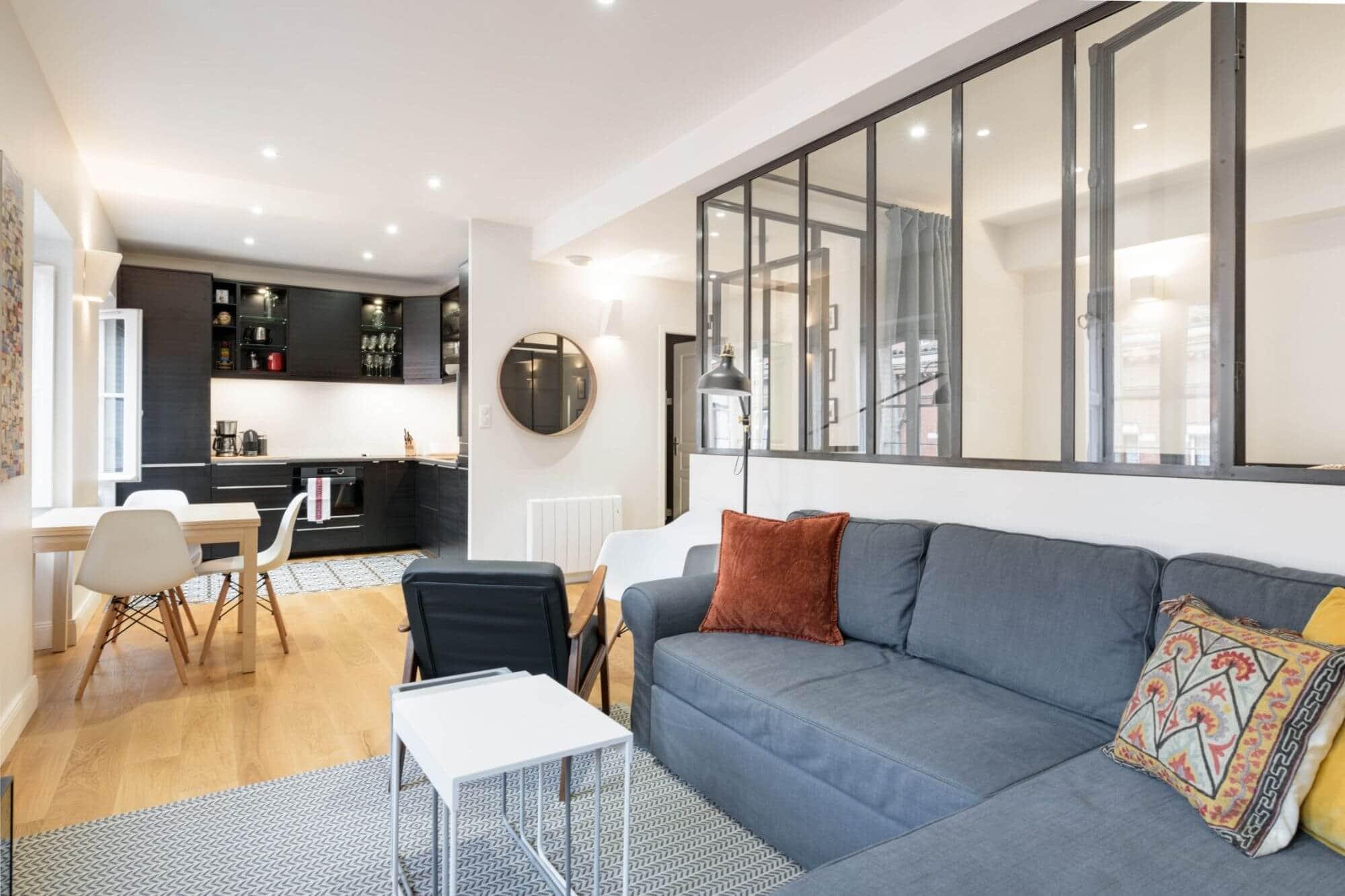 Appartement, Rénovation, Toulouse, Compans Caffarelli, Verrière, Salon, Cuisine