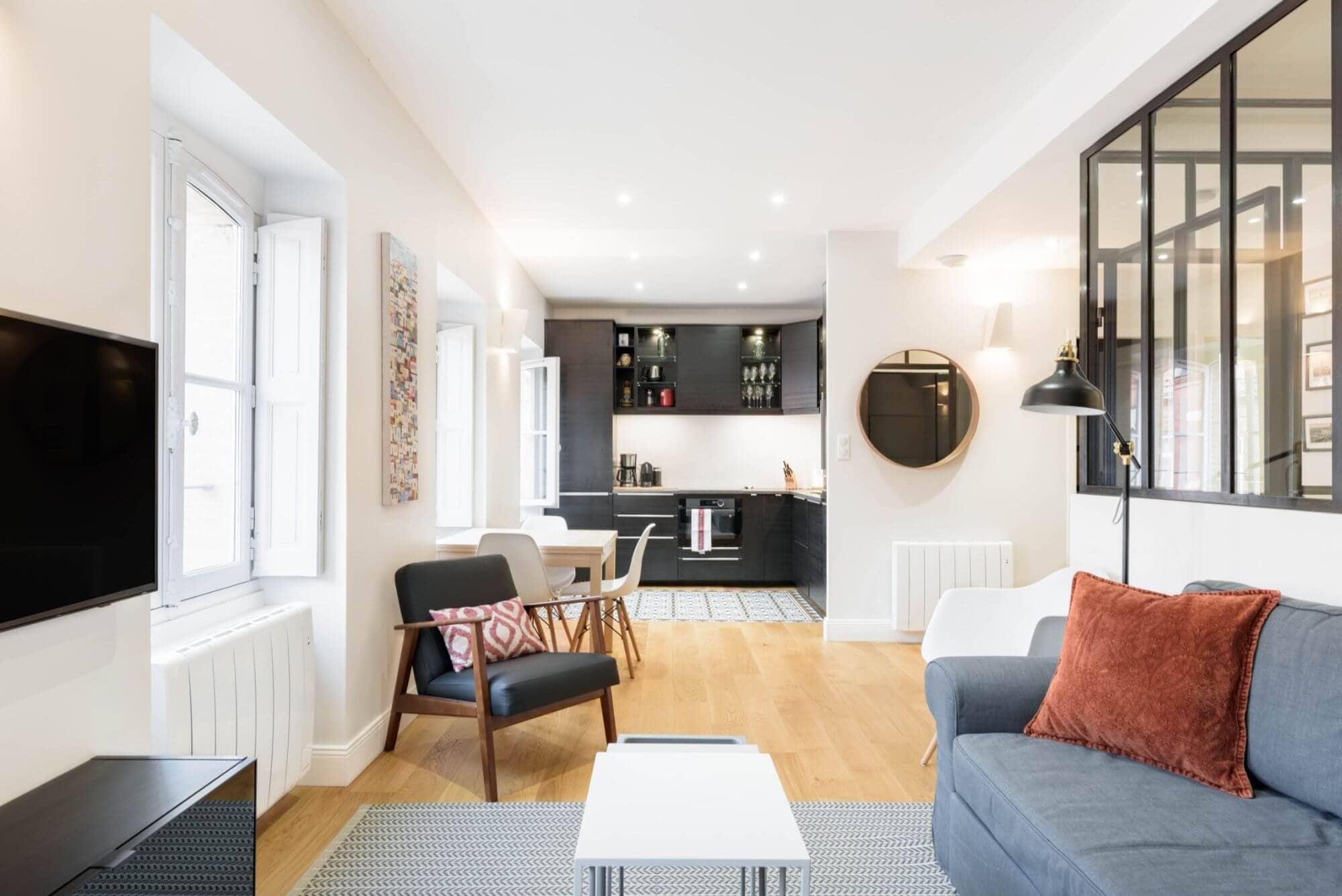 Cuisine, Salon, Canapé, verrière, décoration intérieure, Toulouse