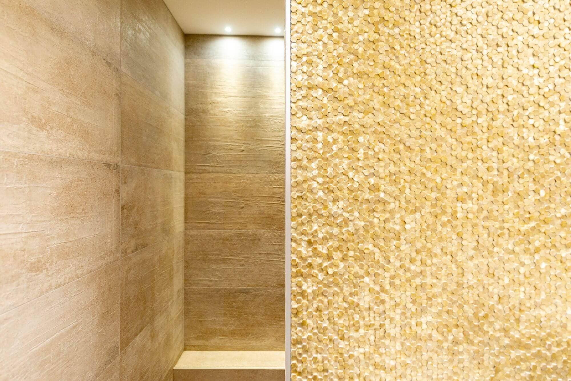 Carreaux, Relief, Carrelage or, Salle de bain