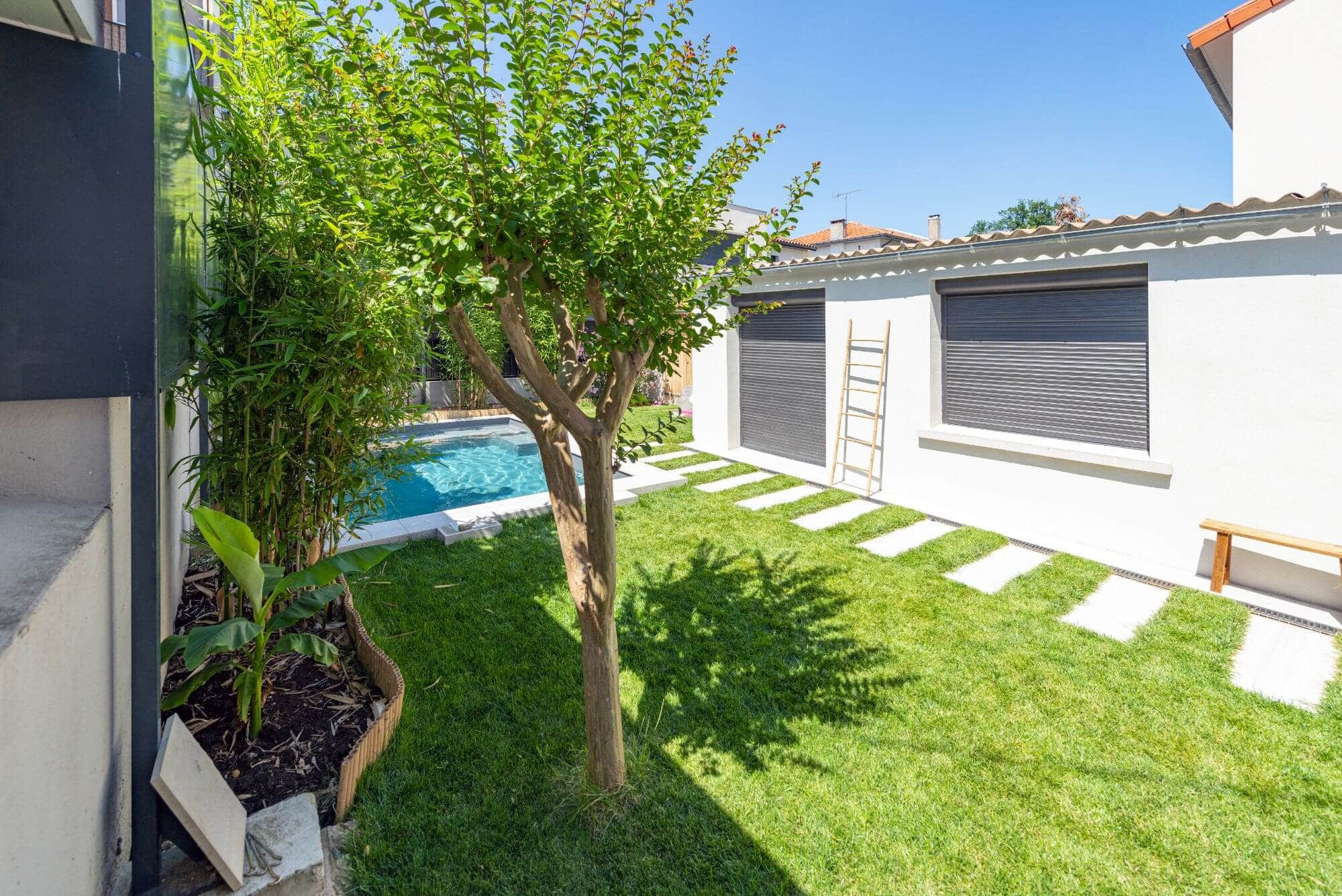 Jardin, Piscine, herbe, pelouse